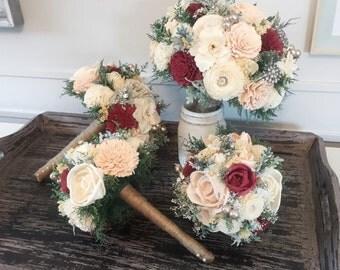 Burgundy, Blush, Wedding Bouquet made with sola flowers - choose your colors - Custom - Alternative bridal bouquet - bridesmaids bouquet