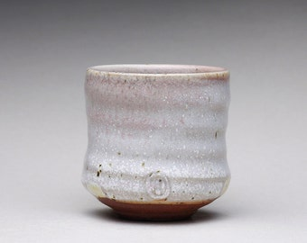 handmade pottery cup, espresso cup, ceramic teacup, yunomi with white ash glaze and light blue inside