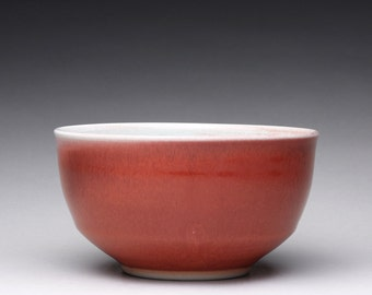 porcelain bowl, handmade serving bowl, pottery bowl with bright red and turquoise celadon glazes