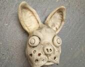 Ceramic Boston Terrier mask, wall hanging