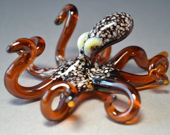 Brown Spotted Glass Octopus Blown Glass Art Sculpture