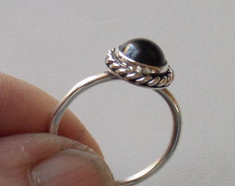 Basic Black Jasper and Sterling Ring/Stacker-Closeout