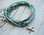 Beach Bride Jewelry, Beachy Boho Bride Anklet, Ankle Wrap, Starfish Anklet, Beach Jewelry, Something Blue, Bride Gift, Bridesmaid Gifts