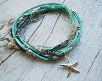 Beach Bride, Starfish Anklet, Ankle Bracelet, Boho Chic, Triple Wrap, Beach Jewelry, Something Blue, Bride Gift, Boho Jewelry, Ankle Wrap