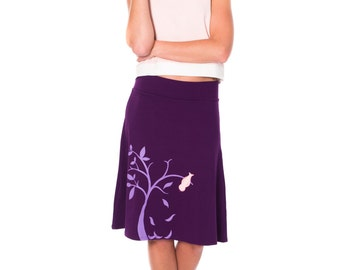 Women Plus size cotton skirts, knit skirt, Graphic midi skirt, Purple Knee Length appliqué A-line Skirt- The bird and the falling leaves