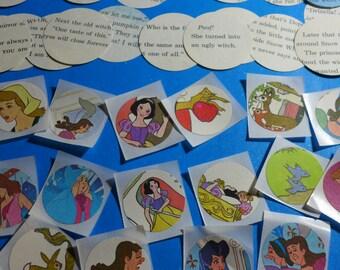 Snow White / Cinderella / Vintage Sticker Set / Word Bubbles