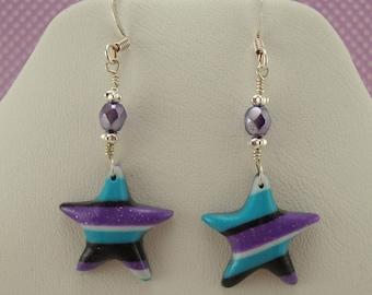 Polymer clay star earrings