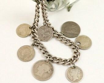 Antique Coin Bracelet, Silver Coin Charm Bracelet, Sterling Silver, British Coins, Queen Victoria, King Edward VII, King George V, VI