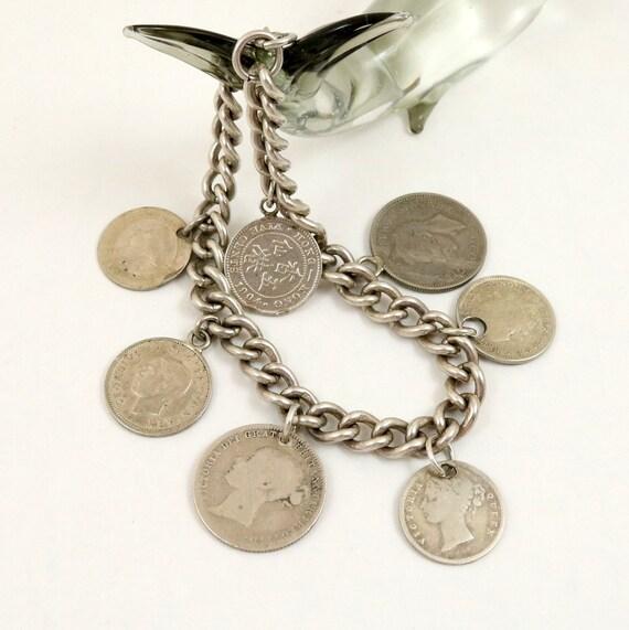 Antique Silver British Coin Charm Bracelet