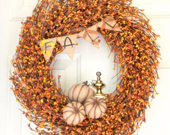 Fall pumpkin berry wreath Orange Yellow Pip Berries Choice of pumpkin color natural burlap orange green dark orange(rust) Fall Banner