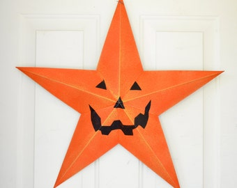 "Orange Pumpkin Tin Large Barn Star Carved Jack-o-lantern face Halloween decor 24"" five point Barn Star Decor for Halloween"