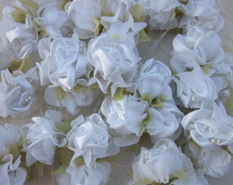 36pc Chic WHITE Satin Organza Ribbon Wired Rose Peony Flower Reborn Doll Bridal Wedding Bow Hair Accessory Applique