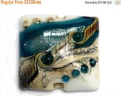 ON SALE 40% OFF Glass Lampwork Bead - Teal Stardust Pillow Focal Bead 11831804