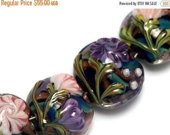 ON SALE 50% OFF Seven Pink & Purple Floral Lentil Beads - Lampwork Glass Bead Set 10407402