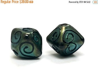 ON SALE 30% OFF Glass Lampwork Bead Sets  - Five Green Pearl Surface w/Black Swirl Bicone Beads 11203807