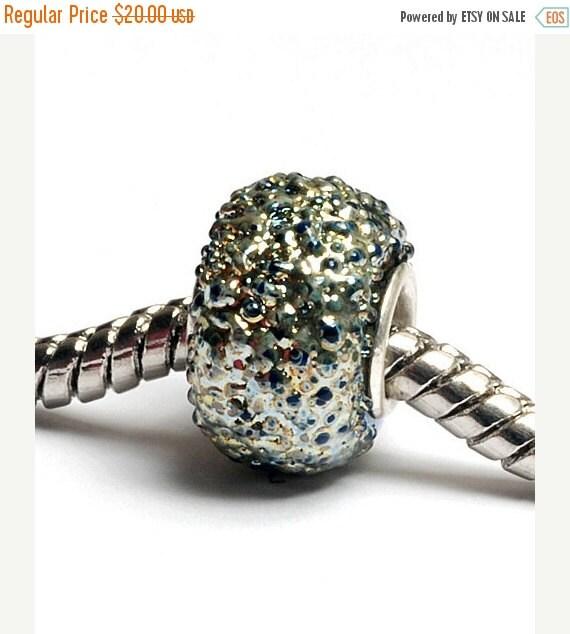 ON SALE 50% OFF Glass Lampwork Beads - Large Hole Light Blue Metallic Rondelle Bead - Sc10087