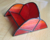 Red-Orange Stained Glass Business Card Holder