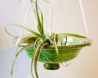 "Ceramic  Hanging Planter in Carved Spring Green Stoneware 7"" Diameter  Air Plant Platform or Succulent Planter"