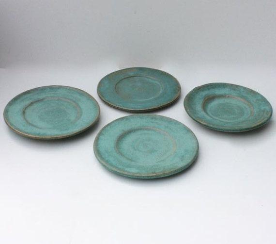 Hand Thrown Ceramic Plates In Cerulean Blue Stoneware Five
