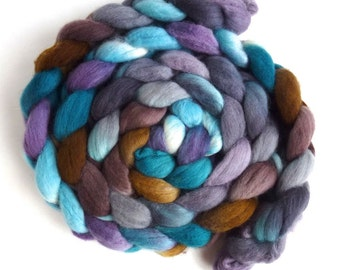 Finn Wool Roving - Hand Painted Spinning or Felting Fiber, Soft in the Rain