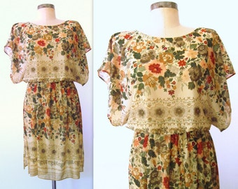 70s Floral Dress / 1970s Semi-sheer Floral Dress / Bohemian Floral Dress / Transition Time Dress
