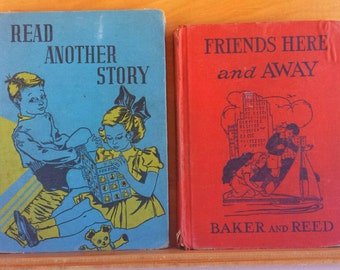 Vintage Reader Book Lot -  Read Another Story and Friends Here and Away Reader  1930s