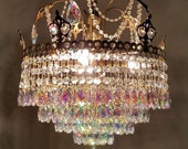 Antique Waterfall Crystal Chandelier, Crystal Wedding Cake Chandelier, Crystal Tiered Fixture, Home Decor
