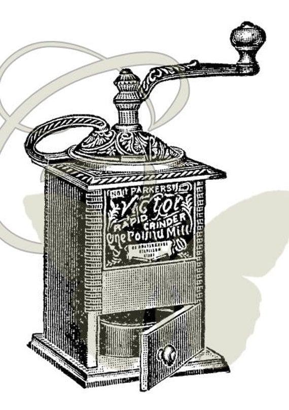 Coffee Grinder Clip Art ~ Coffee grinder digital download illustration artwork transfer
