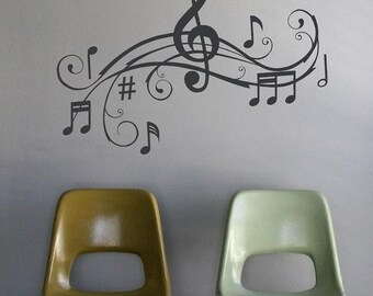 Large Music Notes Wall Art Words Vinyl Lettering Stickers Decals Treble Clef Notes