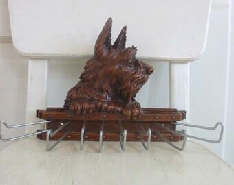 Vintage Tie Rack, Scottie Dog Rack, Vintage Terrier Rack, Dog Leash Holder, Brown