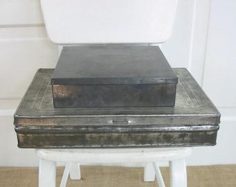 Vintage Metal Boxes Pair Industrial Supply Storage Silver Tins