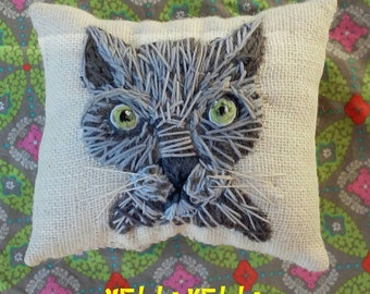 Freehand Embroidered Mini Pillow on Burlap with Your Pet