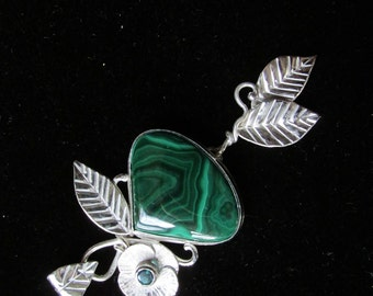 Sterling Silver  Brutalist Malachite Pendant with Green Topaz Flower