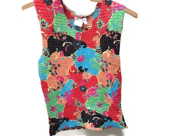 Vintage Crinkle Top, Colorful Sleeveless Top, Crinkled Texture Stretch Tank Top, Vibrant Floral Top, Vintage Sleeveless Blouse Caren Brook S