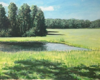 Original Landscape painting - egg tempera Painting by Paige Smith-Wyatt 9 x 12