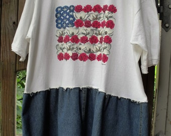 Denim and Roses Tunic/ 4th of July Tunic/ Flower Flag Tunic/ 2X Patriotic Tunic/ Sheerfab Funwear