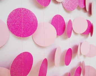 Bright Pink and Light Pink Party Decoration, Paper Garland, Bridal Shower Decor, Baby Shower Decoration, Birthday Party Decoration