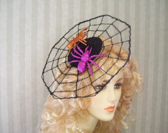 Halloween Spider Web Fasciantor With Purple and Orange Spider Spiderweb Halloween  Party Head Piece