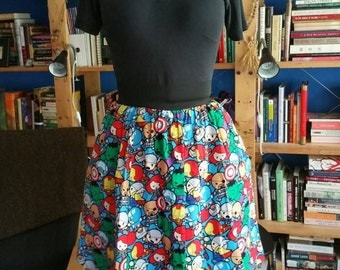 Chibi Avengers Skirt with Pockets
