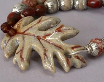 Trending Fall Leaf Bracelet, Ceramic Red Rust Leaf Bracelet, Gray Jasper Bracelet, Birthday Gift for Her, Everyday Casual Bracelet Under 50