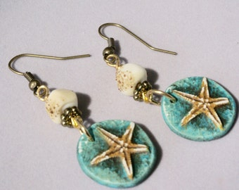 Turquoise Starfish Earrings, Starfish Jewelry, Nautical Earrings, Beach Jewelry, Summer Earrings, Summer Jewelry, Casual Earrings, Gift
