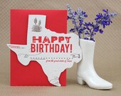 Texas Birthday Greeting Card - Letterpress