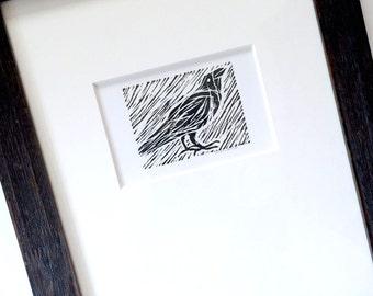 Framed Crow Linocut, Original Lino Cut Crow, Black White Crow, Framed Original Crow Raven Art, Black Framed Crow, Hand pulled Crow Linocut