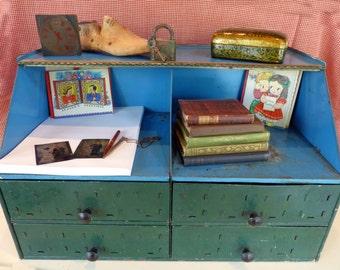 Vintage Metal Cabinet Box Tool Storage Drawers Flip Top Green Blue