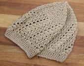 Crochet Lace Beanie - Womens Hat - Boho Beanie - Skull Cap - Summer Beanie - Beige