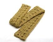 Crochet Skinny Scarf - Summer Neck Scarf - Boho Neck Wrap - Heather Gold