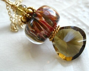 Lampwork Glass and Gemstone Pendant