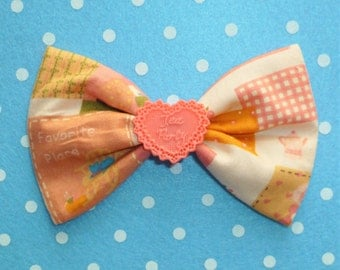 SALE Cute Vintage Style Garden Girl Hair Bow Clip with Coral Tea Party Heart Detail