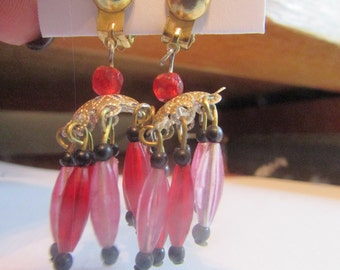 pink and red dangle earrings clip ons