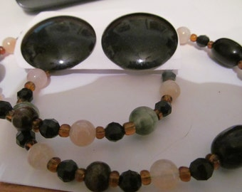 earthy colored beaded set